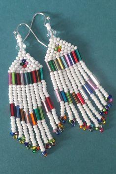 Small Beaded Fringe Seed Bead Earrings White Sparkles Beaded