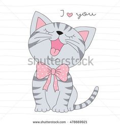 cute little cat vector illustration Gato Doodle, Cat Sketch, Cat Cards, Beautiful Cats, Cute Cartoon, Cute Drawings, Pet Birds, Illustration, Hello Kitty