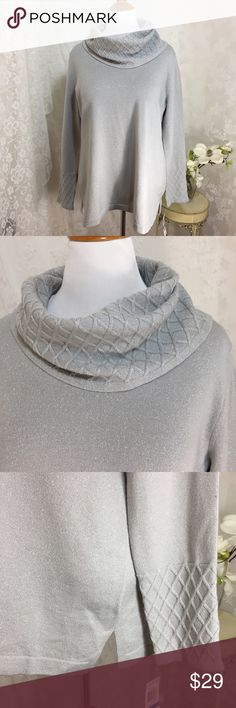 "Jm Collection texted cowl lurex sweater. B024. Jm Collection texted cowl lurex sweater. 78% acrylic 10% polyester 9% nylon 8% metallic. 23"" across armpit to armpit 28"" long. High quality. Light gray. Jm Collection  Sweaters Cowl & Turtlenecks"