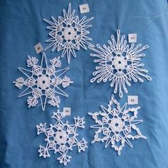 "Do you like to crochet? Do you like giving gifts to friends and family that you have made yourself? You will enjoy trying these patterns out. These beautiful snowflakes make great decorations and beautiful gifts. What you will receive are original patterns, created by Peg, for 5 unique snowflakes. They will arrive via an email .pdf attachment. This ""e-book"" includes a key for abbreviations, blocking pattern, and finishing instructions. Also included in the e-book are pictures of the…"