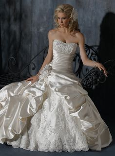 Satin Strapless Dipped Neckline Ball Gown Wedding Dress So perty
