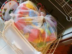 De-germ your kids' plastic toys in a laundry bag in your dishwasher! (As a daycare provider, I used to put them in the washing machine but water would get inside some of the toys...this way does not cause the same problem)