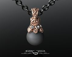 Designer Black Tahitian Pearl Pendant With Ideal by DeMerJewelry. #Jewelry #gold #diamond #engagement #ring #designer #unique #wedding #weddingband #weddingring #engaged #black #gothic #DeMer #Metzger #ruby #emerald #sapphire #platinum #vintage #victorian #alternative #awardwinning #jewel #pearls #pearl #tahitian #SouthSea #tahiti #sea #scrollwork #rose #18kt #750 #aubergine #scrolls #waves #cap #pendant #dangle #necklace