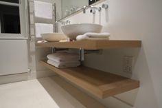 gallery of basin shelves 5 Small Shower Room, Small Showers, Craftsman Bathroom, Floating Shelves Bathroom, Guest Toilet, Home Reno, Bathroom Inspiration, Basin, Shelving
