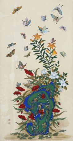 Folk art works on Lee Joungjoo Korean Painting, Japanese Painting, Japanese Art, Botanical Drawings, Botanical Art, Korean Art, Asian Art, Butterfly Art, Flower Art