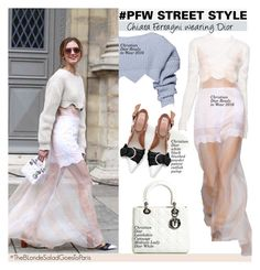 """""""PFW STREET STYLE"""" by swweetalexutza ❤ liked on Polyvore featuring мода, Christian Dior, StreetStyle, PFW, Dior и chiaraferragni"""