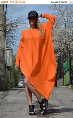SUMMER SALE NEW Orange Maxi Asymmetric Dress Extravagant