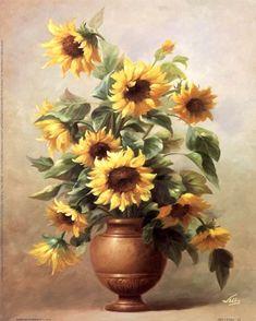 Framed Sunflowers In Bronze II Print
