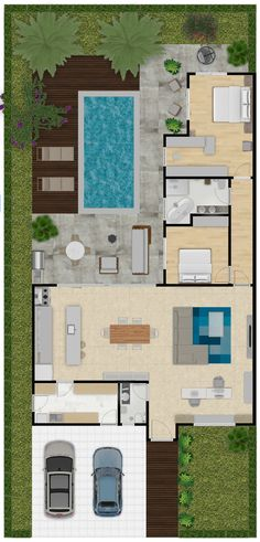 Sims House Plans, House Layout Plans, New House Plans, Dream House Plans, House Layouts, House Floor Plans, Small Modern House Plans, Small House Design, House Construction Plan