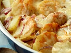 This really is a good recipe for scalloped potatoes that can be made dairy and gluten-free. Use cornstarch for thickening in place of butter and flour. Add seasoning to taste. I only used 5 or 6 potatoes for a 9 x 12 pan, and I added leftover chopped ham.
