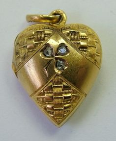 Victorian 15ct Gold & Diamond Heart Locket Charm.