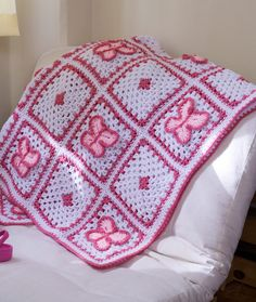 Crochet Butterfly Throw Crochet Pattern | Red Heart  Like alternating butterflies with tiny flowers