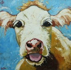 Cow painting 437 20x20 inch original oil painting by Roz by RozArt, $185.00