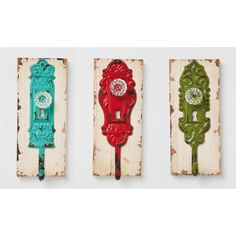 "Rustic Wardrobe Hook Set ""lock"" 3 PC Coat Rack Red Green Turquoise Vintage LOOK for sale online Green Turquoise, Red Green, Red Towels, Towel Rail, Upcycled Vintage, Wall Hooks, Vintage Looks, Clock, Rustic"