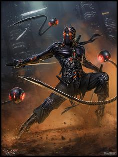 Shamash Ninja, advanced – Galaxy Saga character concept by Vlad Marica Arte Ninja, Ninja Kunst, Ninja Art, Arte Robot, Foto Fantasy, 3d Fantasy, Fantasy Armor, Dark Fantasy, Arte Cyberpunk