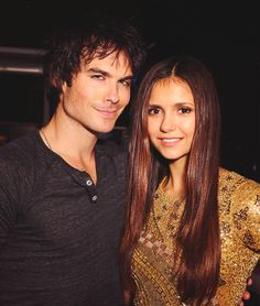 Ian Somerhalder and Nina Dobrev at Comic-Con Party Serie The Vampire Diaries, Vampire Diaries Funny, Vampire Diaries The Originals, Elena Gilbert, Cutest Couple Ever, Best Couple, Beaux Couples, Cute Couples, Damon Salvatore