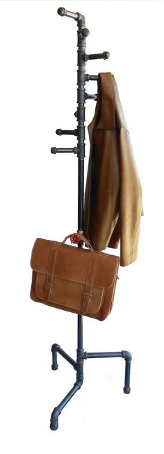 Standing Coat Rack Industrial Style Black Pipe by DerekGoodbrand