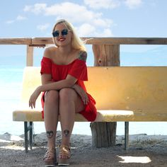 Red Dress at Beach (Koilada, Greece) Billie Eilish, Ariana Grande, Youtubers, Greece, Stylists, Summer Dresses, Photo And Video, Beach, Red