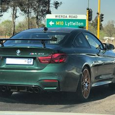 """Although this looks like a stunning """"British Racing Green"""" BMW M4 GTS I think it's an imitation of one. The 'GTS' part of the badge is too far to the right. Who agrees? #ExoticSpotSA #Zero2Turbo #SouthAfrica #BMW #M4GTS #M4 #FakeGTS"""