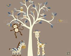 Cream Tree Decal Denim Color Boy Room Wall By Stickitdecaldesigns Mural Infantil Nursery Decals