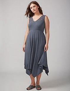 Fit & Flare Midi Dress with Sharkbite Hem