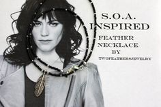 SOA Inspired Feather Necklace - Black And Silver - Tara Necklace - Sons Of Anarchy Inspired Necklace - Gift For Her - Biker Jewelry