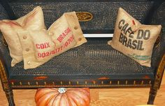 pillows made with burlap coffee bags