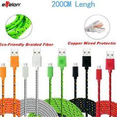 Câble USB Micro Effelon-200cm pour Samsung / HTC / Meizu / Xiaomi / Huawei, connexion filaire Data Sync USB Cables data for Android