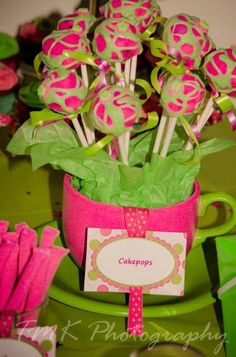 Yummy, cheerful pink and green cake pops for a slumber, sorority or birthday party, bridal or baby shower.