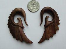 Pair Organic ANGEL WINGS Sono Wood Spirals Ear Expander Taper Plugs Gauge PickSZ