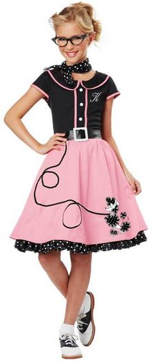 ee6edc778 Details about Hip Hop 50s Shop 4 pc Girls Poodle Skirt Outfit Halloween or  Dance Costume