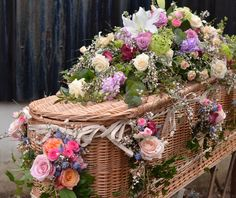Pink and white spring coffin spray by Matthew Spriggs of Spriggs Florist Funeral Flower Arrangements, Funeral Flowers, Floral Arrangements, Wedding Flowers, Funeral Planner, Green Funeral, Funeral Sprays, Funeral Tributes, Memorial Flowers