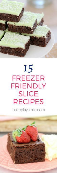 This collection of 15 freezer friendly slices are perfect for making ahead of time and storing in the freezer until needed. A great time saver! And check out my tips for the best ways to freeze slices… (work lunch box mornings) Freezer Desserts, Make Ahead Desserts, No Bake Desserts, Easy Desserts, Delicious Desserts, Yummy Food, Baking Recipes, Cake Recipes, Dessert Recipes