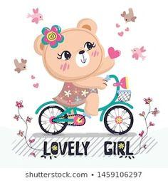 Teddy bear girl riding a bicycle giving a heart for love isolated on white background illustration vector. Pirate Cartoon, Cute Cartoon Girl, Baby Cartoon, Boys Summer Shirts, Summer Boy, T Shirt Design Vector, Baby Painting, Cartoons Love, Cute Teddy Bears
