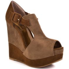Luichiny Buckle Up Wedge  Camel Cognac