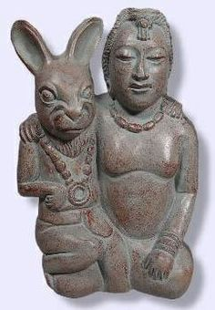 """IxChel and Rabbit (c. approx: 800 common era) ~ Mayan Goddess of the Moon, weaving, love, war, birth and death. She's often shown in her maiden form, with the rabbit, as the protector of mothers and children. Identified in the Madrid Codex as  """"the White Lady"""", although some sources state the meaning of her name means """"She of the Rainbow"""" - corresponds to the goddess O."""