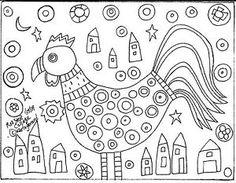 Rug Hook Paper Pattern Rooster Collage Primitive Folk Art Abstract ...
