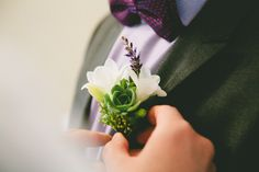 Fresia and succulent boutonniere.