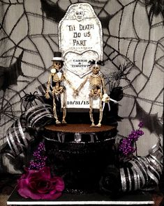 Get a discount with coupon Yay2021 at checkout #etsy shop: Skull wedding centerpiece,Goth,black wedding dress,skeleton bride and groom,halloween wedding,tombstone,personalized,custom,goth,decoration #wedding #halloweenwedding #halloweengift #blackweddingdress #blackwedding #weddingcenterpiece #weddingdecoration #skullwedding #skeletonbride Fit And Flare Wedding Dress, Modest Wedding Dresses, Wedding Gowns, Wedding Cake, Wedding Reception, Wedding Venues, Steampunk Wedding, Gothic Wedding, Skull Wedding