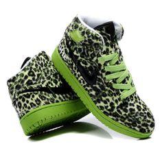 Mens Olive Green Leopard Animal Print Leather Punk Emo High Tops Shoes SKU-1280489