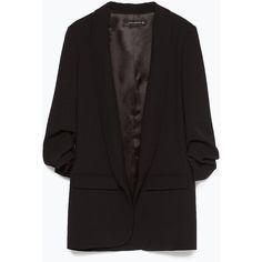 Zara Crepe Blazer ($129) ❤ liked on Polyvore featuring outerwear, jackets, blazers, zara, coats & jackets, black, zara jackets, short-sleeve blazers, fleece-lined jackets and crepe jacket