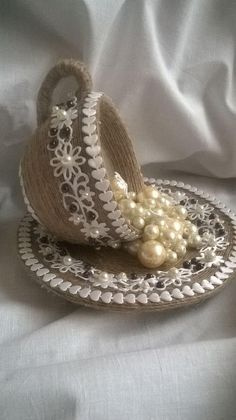 """This post was discovered by Kir """"Rustic Lace & Jute Ideas for \""""Hattie's Vintage Crafts\"""" ~"""", """"crafty upcycle vintage cup & saucer with lace & pearls"""", Burlap Crafts, Diy Home Crafts, Crafts To Make, Upcycled Crafts, Tea Cup Art, Tea Cups, Bottle Art, Bottle Crafts, Hobbies And Crafts"""