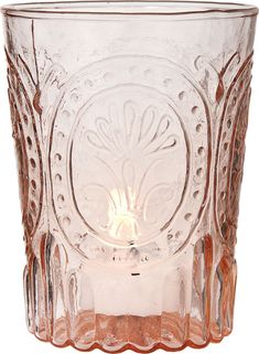 Love the idea of these peach votive holders...too bad they're so expensive!  Vintage Pink Glass Votive Holder (medallion design) $6.50 ea.