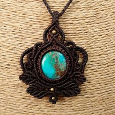 Macrame Necklace Pendant Tibetan Turquoise Stone Cotton Waxed Cord Handmade #Handmade #Wrap