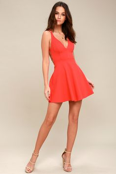058f5ec9a2 Believe in Love Red Backless Skater Dress 1 Little Dresses
