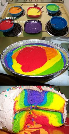 Rainbow cake... this is a fun idea for a birthday cake!!