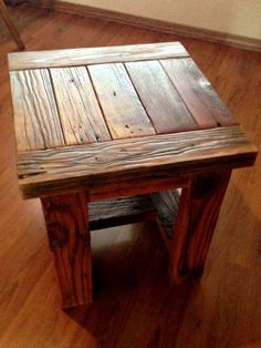Reclaimed Wood End Table Or Small Square Coffee Table
