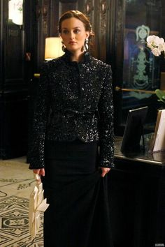 3x13 So gorgeous. I love the jacket and one- shoulder gowns. Victoria Beckham gown. Vintage jacket (Magashoni or Moschino?). Valentino clutch. Christian Louboutin shoes. House of Lavande earrings.