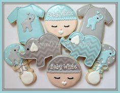 Chevron+Elephant+Baby+Shower+Cookies+by+SugaredHeartsBakery,+$48.00