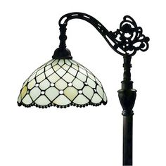 Perfect next to a favorite chair, the Tiffany Style Jeweled Floor Lamp adds an elegant touch to any room. Inspired by vintage Tiffany lamps, this lamp features a handcrafted glass and bead shade and a decorative bronze pole for a warm and inviting look. Stained Glass Lamps, Brass Lamp, Bedroom Lamps, Chandelier Bedroom, Wall Lamps, Master Bedroom, Tiffany Lamps, Unique Lamps, Vintage Lighting